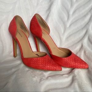 Express Red Faux Snakeskin D'Orsay Pumps Size 6
